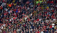 BOGOTA-COLOMBIA, 21-02-2020: Hinchas de Independiente Santa Fe, durante partido de la fecha 6 entre Independiente Santa Fe y America de Cali, por la Liga BetPLay DIMAYOR I 2020, en el estadio Nemesio Camacho El Campin de la ciudad de Bogota. / Fans Independiente Santa Fe, during a match of the 6th date between Independiente Santa Fe and America de Cali, for the BetPlay DIMAYOR I Leguaje 2020 at the Nemesio Camacho El Campin Stadium in Bogota city. / Photo: VizzorImage / Daniel Garzon / Cont.