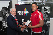CMRFU President Richard Hull presents Tupou Vaai with a plaque to commemorate his selection for the NZ Barbarians Secondary Schools team. Counties Manukau Rugby Unions Junior Prize giving held at ECOLight Stadium Pukekohe on Wednesday October12th, 2016.<br /> Photo by Richard Spranger