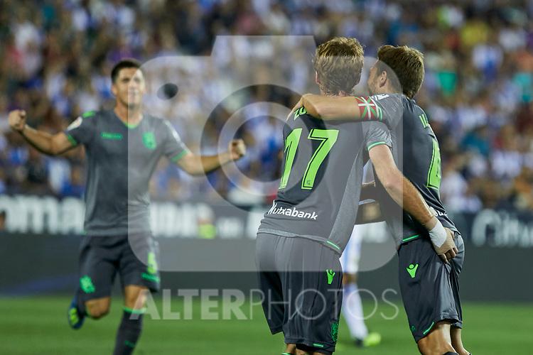 Real Sociedad's David Zurutuza (l) and Asier Illarramendi (r) celebrate goal during La Liga match. August 24, 2018. (ALTERPHOTOS/A. Perez Meca)