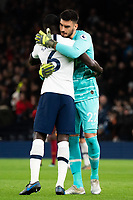Tottenham's Paulo Gazzaniga  embraces Davinson Sanchez prior to kick off<br /> <br /> Photographer Stephanie Meek/CameraSport<br /> <br /> The Premier League - Tottenham Hotspur v Liverpool - Saturday 11th January 2020 - Tottenham Hotspur Stadium - London<br /> <br /> World Copyright © 2020 CameraSport. All rights reserved. 43 Linden Ave. Countesthorpe. Leicester. England. LE8 5PG - Tel: +44 (0) 116 277 4147 - admin@camerasport.com - www.camerasport.com