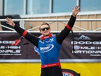 Jul 22, 2018; Morrison, CO, USA; NHRA top fuel driver Blake Alexander during the Mile High Nationals at Bandimere Speedway. Mandatory Credit: Mark J. Rebilas-USA TODAY Sports