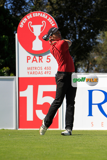 Julien Guerrier (FRA) on the 15th tee during Thursday's Round 1 of The Open De Espana at The PGA Catalunya Resort. 15th May 2014.<br /> Picture:  Thos Caffrey / www.golffile.ie
