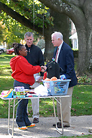 10/16/10 9:29:33 AM -- Springfield, PA<br />  -- Republican Congressional candidate Pat Meehan (R) and Tom McGarrigle (C) speak with voter Olivia Tubbs (L) October 16, 2010 in Springfield, Pennsylvania. Meehan faces incumbent Democrat Bryan Lentz in the Nov. 2 general election. --  Photo by William Thomas Cain/Cain Images