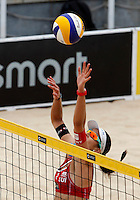 Switzerland's Joana Heidrich in action at the Beach Volleyball World Tour Grand Slam, Foro Italico, Rome, 22 June 2013. Brazil defeated Switzerland 2-1.<br /> UPDATE IMAGES PRESS/Isabella Bonotto