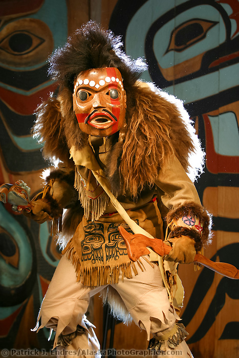Rahsaan Gregg, Swamp Shaman in costume, Chilkat Dancers' Storytelling Theater Show, Haines, Alaska. Bringing ancient legends to the stage in pantomime expression using carved masks and traditional costumes.