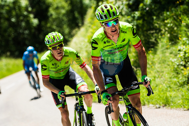 Andrew Talansky (USA) and Simon Clarke (AUS) Cannondale-Drapac on the slopes of Col de Sarenne during Stage 7 of the Criterium du Dauphine 2017, running 168km from Aoste to Alpe d'Huez, France. 10th June 2017. <br /> Picture: ASO/A.Broadway   Cyclefile<br /> <br /> <br /> All photos usage must carry mandatory copyright credit (&copy; Cyclefile   ASO/A.Broadway)