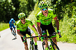 Andrew Talansky (USA) and Simon Clarke (AUS) Cannondale-Drapac on the slopes of Col de Sarenne during Stage 7 of the Criterium du Dauphine 2017, running 168km from Aoste to Alpe d'Huez, France. 10th June 2017. <br /> Picture: ASO/A.Broadway | Cyclefile<br /> <br /> <br /> All photos usage must carry mandatory copyright credit (&copy; Cyclefile | ASO/A.Broadway)