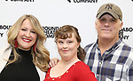 "Lindsey Ferrentino, Jamie Brewer and Scott Ellis attends the Meet & Greet for the cast of ""Amy and the Orphans"" at the Roundabout Theatre rehearsal hall on January 10, 2018 in New York City."