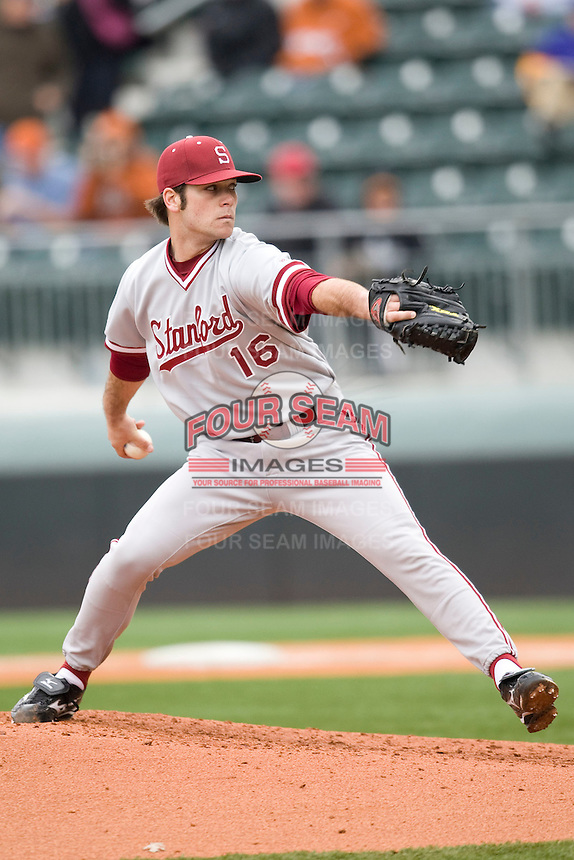Jordan Pries of the Stanford Cardinal against the Texas Longhorns at  UFCU Disch-Falk Field in Austin, Texas on Friday February 26th, 2100.  (Photo by Andrew Woolley / Four Seam Images)