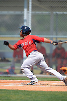 Boston Red Sox infielder Heiker Meneses #13 during a minor league Spring Training game against the Baltimore Orioles at Buck O'Neil Complex on March 25, 2013 in Sarasota, Florida.  (Mike Janes/Four Seam Images)