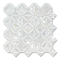 Joie, a stone water jet cut mosaic, shown in polished Dolomite and Shell is part of the Studio Line of Ready to Ship mosaics.
