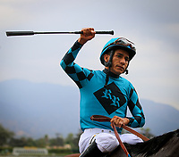 ARCADIA, CA: October 06: Paco Lopez celebrates after winning Breeders Cup win and you're Santa Anita Sprint Championship at Santa Anita Park on October 06, 2018 in Arcadia, California (Photo by Chris Crestik/Eclipse Sportswire)
