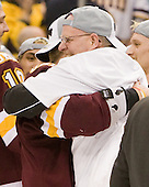 "Dale ""Hoagie"" Haagenson (Duluth - Manager) - The University of Minnesota-Duluth Bulldogs celebrated their 2011 D1 National Championship win on Saturday, April 9, 2011, at the Xcel Energy Center in St. Paul, Minnesota."