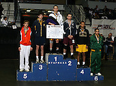 Luke Bohn (1st - Watertown); Zach Crain (2nd - Columbia); Shane Strumwasser (3rd - Massapequa); Andy Rodriguez (4th - Central Islip); Marc Lewandowski (5th - Lancaster); Josh Veltre (6th - Greece Olympia) pose on the podium for the Division One 135 weight class during the NY State Wrestling Championship finals at Blue Cross Arena on March 9, 2009 in Rochester, New York.  (Copyright Mike Janes Photography)