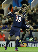 Paris Saint-Germain's Zlatan Ibrahimovic (l) and Javier Pastore celebrate goal during Champions League 2012/2013 match.February 12,2013. (ALTERPHOTOS/Acero) /NortePhoto