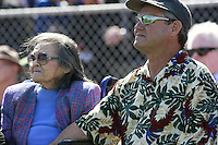 Jim Eden comforts  his morher during a Memorial service held for his father Coach Bennie Eden at the Point Loma High School Football stadium that was recently renamed in his honor, Saturday February 23 2008.