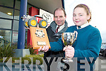 ECO CAR: Tim Kelliher (Kellihers Garage, Tralee) pictured with Maire Twiss from Nagle Rice National School Milltown winner of the Kerry Car Design and Build Primary School Competition.   Copyright Kerry's Eye 2008