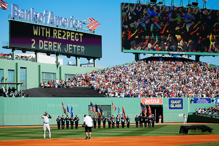 BOSTON, MASS. - SEPT. 28, 2014: Derek Jeter takes part in a pre-game ceremony before the New York Yankees and Boston Red Sox play at Fenway Park. The game is last game of Derek Jeter's career. M. Scott Brauer for The New York Times