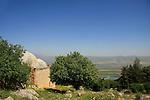 Israel, Upper Galilee, tomb of Nabi Yusha overlooking the Hula valley and Golan Heights