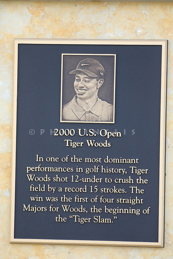Tiger Woods plaque on 1st tee during the final round of the AT&T Pro-Am , Pebble Beach Golf Links, Monterey, USA. 11/02/2019<br /> Picture: Golffile | Phil Inglis<br /> <br /> <br /> All photo usage must carry mandatory copyright credit (© Golffile | Phil Inglis)