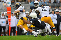 21 September 2013:  Penn State DT DaQuan Jones (91) sacks Kent State QB David Fisher (7). The Penn State Nittany Lions defeated the Kent State Golden Flashes 34-0 at Beaver Stadium in State College, PA.
