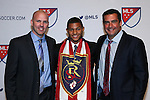 14 January 2016: Omar Holness (JAM) (center), with general manager Craig Waibel (left) and head coach Jeff Cassar (right), was selected with the #5 overall pick by Real Salt Lake. The 2016 MLS SuperDraft was held at The Baltimore Convention Center in Baltimore, Maryland as part of the annual NSCAA Convention.