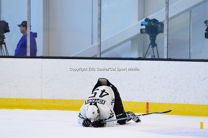 June 26, 2018: Boston Bruins forward Joona Koppanen (45) tries to catch his breath after a timed speed drill during the Boston Bruins development camp held at Warrior Ice Arena in Brighton Mass. Eric Canha/CSM