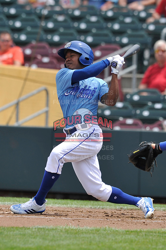 Omaha Storm Chasers left fielder Terrance Gore (0) swings at a pitch against the Oklahoma City Dodgers at Werner Park on June 24, 2018 in Omaha, Nebraska. Omaha won 8-0.  (Dennis Hubbard/Four Seam Images)