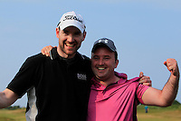 Paul O'Hanlon (Carton House) with his caddy Richie Whelan on the 18th green after winning the East of Ireland Amateur Open Championship sponsored by City North Hotel at Co. Louth Golf club in Baltray on Monday 6th June 2016.<br /> Photo by: Golffile   Thos Caffrey