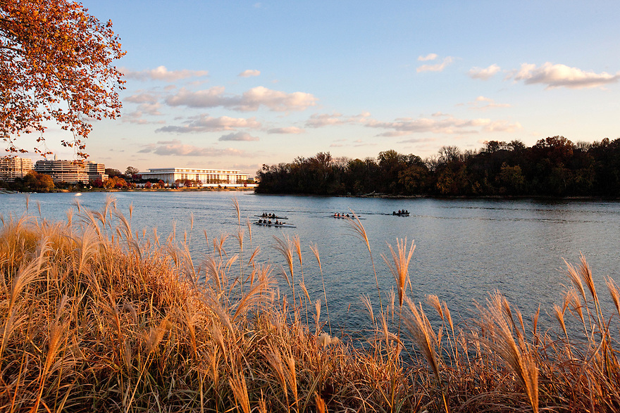 Boats on the Potomac River, near the Georgetown Waterfront Park, the largest public park constructed in Nation's Capitol since the completion of Constitution Gardens in 1976.  It includes a promenade along the Potomac River, a bike path, and  an amphitheatre..