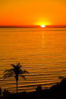 Sunset over the Pacific Ocean seen from the Mesa, Santa Barbara, California USA.