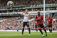 Harry Kane of Tottenham Hotspur looks dejected after missing a chance during the Premier League match between Tottenham Hotspur and Bournemouth at White Hart Lane, London, England on 15 April 2017. Photo by Mark  Hawkins / PRiME Media Images.