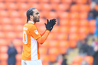 Nathan Delfouneso of Blackpool FC during the Sky Bet League 1 match between Blackpool and Bradford City at Bloomfield Road, Blackpool, England on 7 April 2018. Photo by Thomas Gadd.