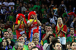 Spanish national basketball team supporters before start of final Eurobasket 2011 game between Spain and France in Kaunas, Lithuania, Sunday, September 18, 2011. (photo: Pedja Milosavljevic)
