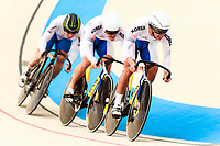 Picture by Alex Whitehead/SWpix.com - 09/12/2017 - Cycling - UCI Track Cycling World Cup Santiago - Velódromo de Peñalolén, Santiago, Chile - Republic of Korea's Jeyong Son, Jeone Park and Chaebin Im compete in the Men's Team Sprint qualifying.