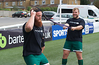 Players warm up ahead of the RFU Championship Cup match between Ealing Trailfinders and Ampthill RUFC at Castle Bar , West Ealing , England  on 28 September 2019. Photo by Alan  Stanford / PRiME Media Images