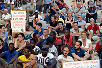 Roma, 13 Luglio 2017<br /> Nessuna persona &egrave; illegale, manifestazione in Campidoglio contro le politiche della giunta di Virginia Raggi per dire che i problemi di Roma non sono i migranti