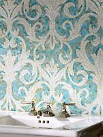 Serena jewel glass mosaic in Aquamarine and Quartz.