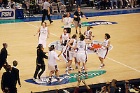 5 March 2007: Jayne Appel, Jillian Harmon, Brooke Smith, Melanie Murphy, Candice Wiggins, Clare Bodensteiner, Markisha Coleman, Rosalyn Gold-Onwude, J.J. Hones, and Kristen Newlin and Cissy Pierce celebrate during Stanford's 62-55 win over ASU in the finals of the women's Pac-10 tournament championship at HP Pavilion in San Jose, CA.