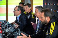 Welnix chairman Rob Morrison (left) fronts the media as coach Ernie Merrick discusses his resignation from the Wellington Phoenix club at Newtown Park in Wellington, New Zealand on Tuesday, 6 December 2016. Photo: Dave Lintott / lintottphoto.co.nz