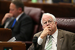 Nevada Assemblyman Lynn Stewart, R-Henderson, listens to passionate Assembly floor debate at the Legislative Building in Carson City, Nev., on Sunday, May 31, 2015. The Assembly approved Gov. Brian Sandoval's tax plan 30-10. <br /> Photo by Cathleen Allison