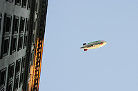 The Fuji Blimp is loaned to the NYPD to keep an eye on protesters in New York City on August 31, 2004 during the Republican National Convention.
