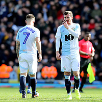 Blackburn Rovers' Adam Armstrong and Joe Rothwell look dejected at the final whistle <br /> <br /> Photographer Rich Linley/CameraSport<br /> <br /> The EFL Sky Bet Championship - Blackburn Rovers v Preston North End - Saturday 9th March 2019 - Ewood Park - Blackburn<br /> <br /> World Copyright © 2019 CameraSport. All rights reserved. 43 Linden Ave. Countesthorpe. Leicester. England. LE8 5PG - Tel: +44 (0) 116 277 4147 - admin@camerasport.com - www.camerasport.com
