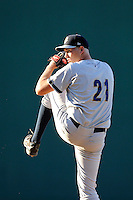 Pitcher Joey Maher (21) of the Charleston RiverDogs delivers a pitch in a game against the Greenville Drive on Sunday, June 28, 2015, at Fluor Field at the West End in Greenville, South Carolina. Charleston won, 12-9. (Tom Priddy/Four Seam Images)