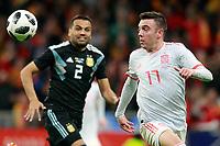 Spain's Iago Aspas (r) and Argentina's Gabriel Mercado during international friendly match. March 27,2018. *** Local Caption *** © pixathlon<br /> Contact: +49-40-22 63 02 60 , info@pixathlon.de