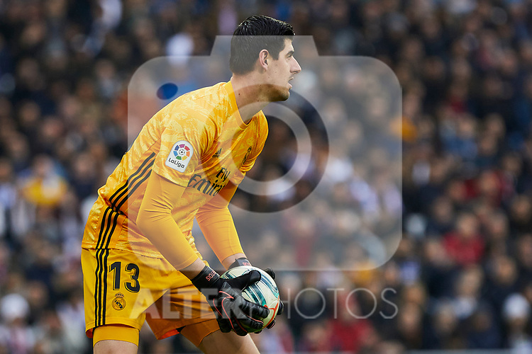 Thibaut Courtois of Real Madrid during La Liga match between Real Madrid and Sevilla FC at Santiago Bernabeu Stadium in Madrid, Spain. January 18, 2020. (ALTERPHOTOS/A. Perez Meca)