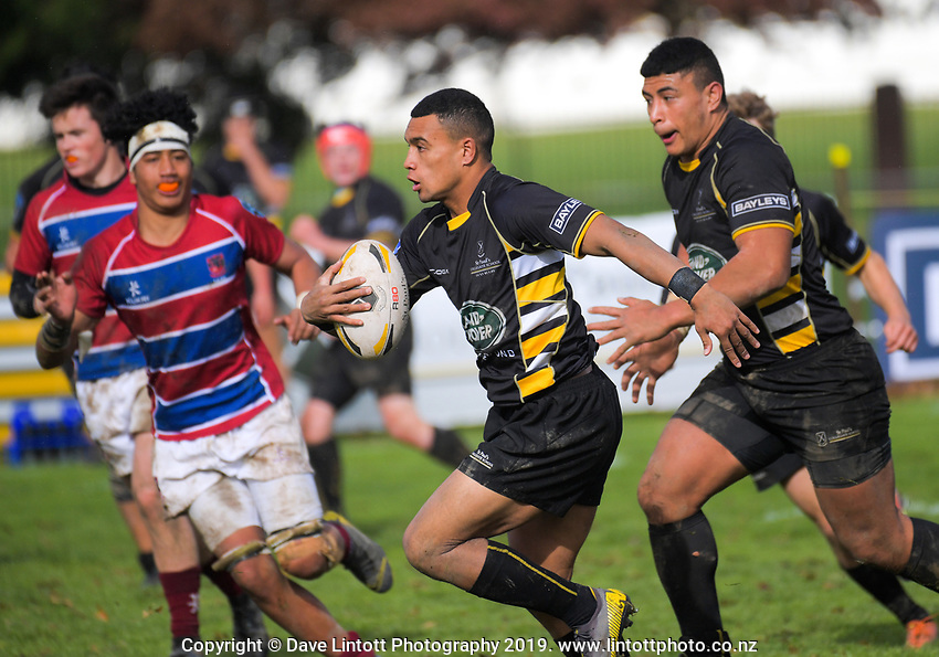 Action from the Central North Island 1st XV rugby match between St Paul's Collegiate and St John's Hastings at St Paul's Collegiate in Hamilton, New Zealand on Saturday, 8 June 2019. Photo: Dave Lintott / lintottphoto.co.nz