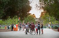 Occidental College students, their families and alumni enjoy the Tiger Tailgate & Oswald's Carnival in the Academic Quad during Homecoming, Oct. 25, 2014. (Photo by Marc Campos, Occidental College Photographer)
