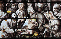 Detail from the Circumcision of Christ in the temple, from the Life of the Virgin and the Childhood of Christ grisaille stained glass window with silver and gold on white glass, 1545, by the School of Fontainebleau, in the South chapel choir of the Collegiate Church of Saint-Gervais-Saint-Protais, built 12th to 16th centuries in Gothic and Renaissance styles, in Gisors, Eure, Haute-Normandie, France. The church was consecrated in 1119 by Calixtus II but the nave was rebuilt from 1160 after a fire. The church was listed as a historic monument in 1840. Picture by Manuel Cohen