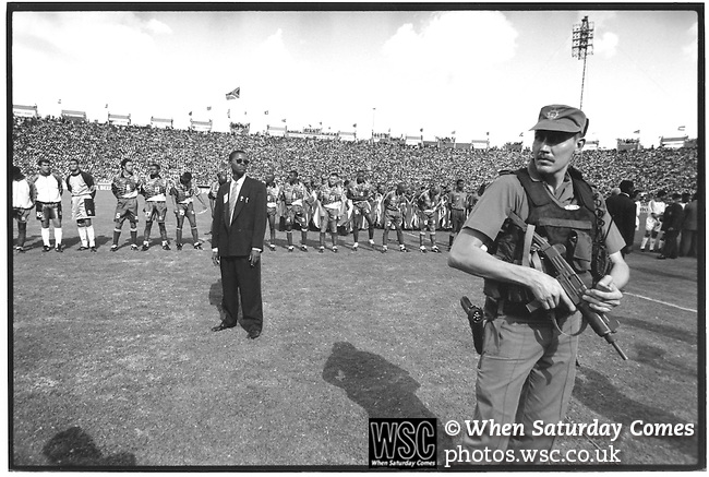 South Africa 2 Tunisia 0, 03/02/1996. FNB Stadium, Johannesburg, African Cup of Nations, South Africa 1996. Security before final and arrival of Nelson Mandela. Photo by Tony Davis